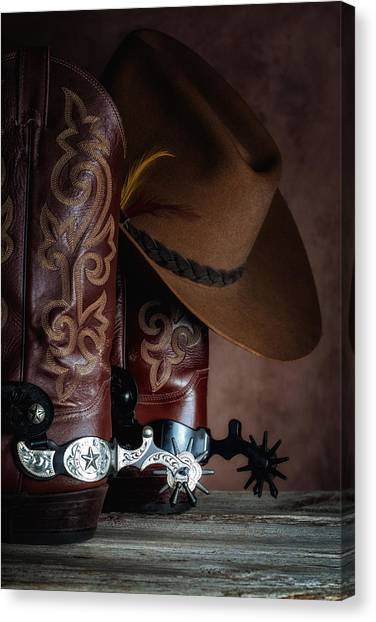 Spurs Canvas Print - Boots And Spurs by Tom Mc Nemar