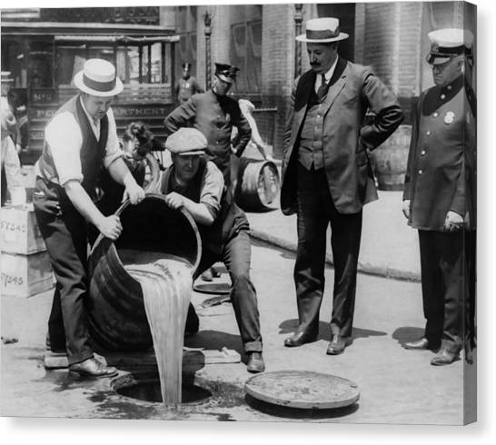 Police Officers Canvas Print - Booze Dump - Vintage Prohibition Photo by War Is Hell Store
