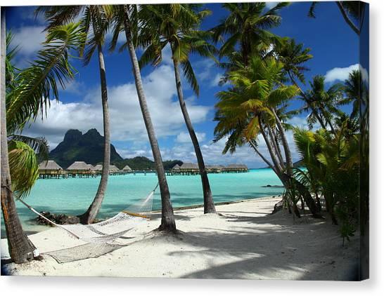 Tahiti Canvas Print - Bora Bora Beach Hammock by Owen Ashurst