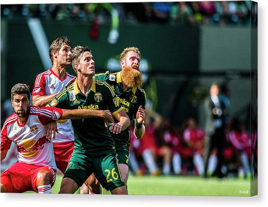 Portland Timbers Canvas Print - Borchers And Melano Fight by Roscoe Myrick