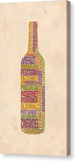 Wine Canvas Print - Bordeaux Wine Word Bottle by Mitch Frey