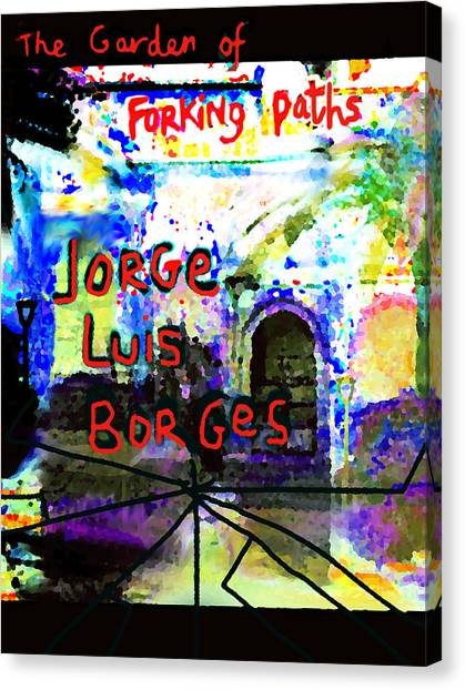 Imaginary Worlds Canvas Print - Borges Poster Garden Of Forking Paths by Paul Sutcliffe