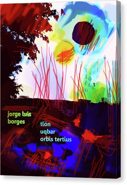 Imaginary Worlds Canvas Print - Borges Tlon Poster 2 by Paul Sutcliffe