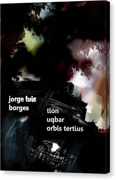 Imaginary Worlds Canvas Print - Borges Tlon Poster  by Paul Sutcliffe