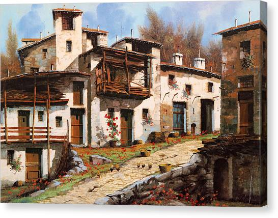 Villages Canvas Print - Borgo Di Montagna by Guido Borelli