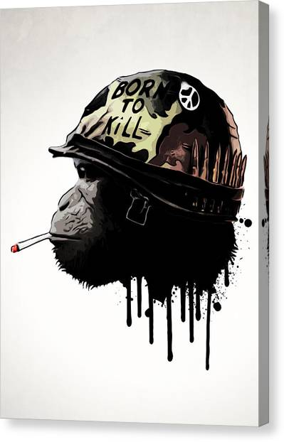 Monkeys Canvas Print - Born To Kill by Nicklas Gustafsson