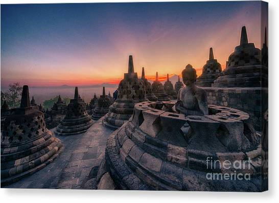 Pyrography Canvas Print - Borobudur Temple by Andy Maryanto