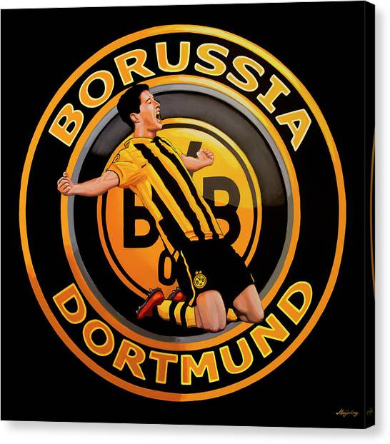 Soccer Players Canvas Print - Borussia Dortmund Painting by Paul Meijering