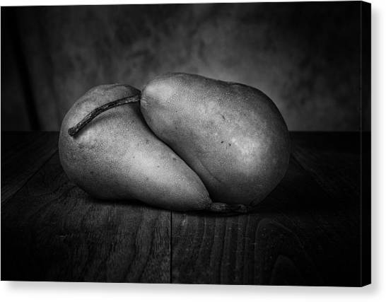 Pears Canvas Print - Bosc Pears In Black And White by Tom Mc Nemar