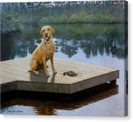Yellow Lab Canvas Print - Boss by Doug Strickland