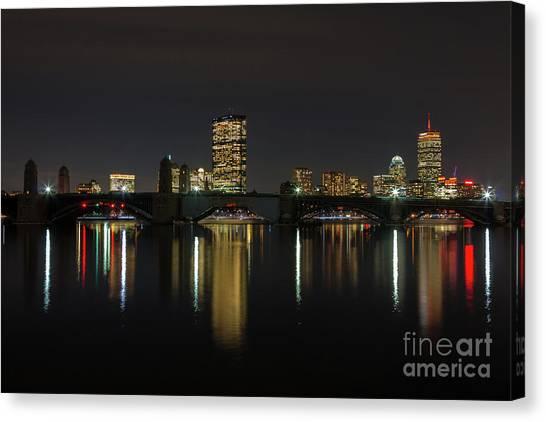 Boston Skyscrappers Behind Bridge Canvas Print