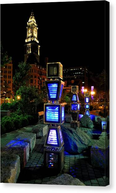 Boston At Night 1 Canvas Print by Andrew Dinh