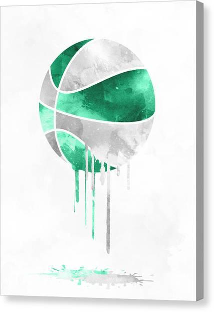 Celtics Canvas Print - Boston Celtics Dripping Water Colors Pixel Art by Joe Hamilton