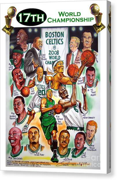 Basketball Teams Canvas Print - Boston Celtics World Championship Newspaper Poster by Dave Olsen