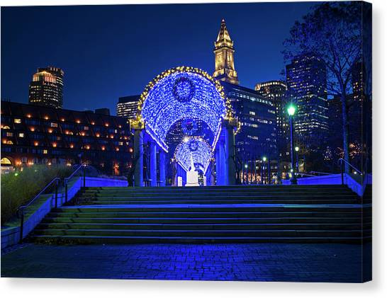 Christopher columbus park canvas print boston christopher columbus park trellis lit up for christmas boston