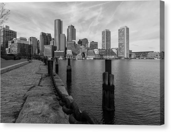 Boston Cityscape From The Seaport District In Black And White Canvas Print