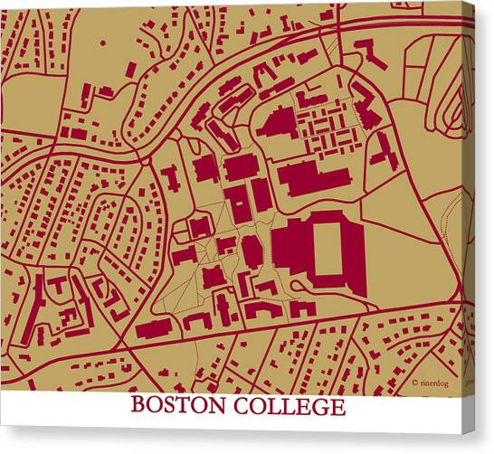 Boston College Canvas Print - Boston College Campus by Spencer Hall