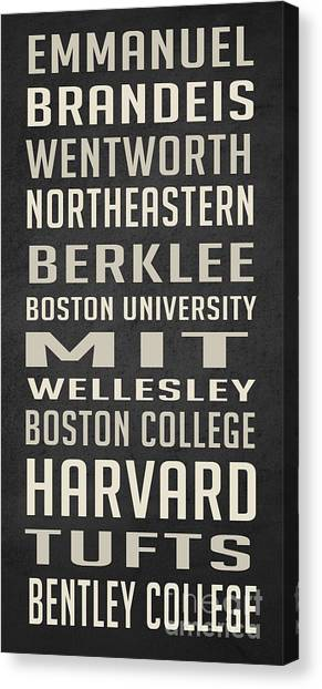 Northeastern University Canvas Print - Boston Colleges Poster by Edward Fielding