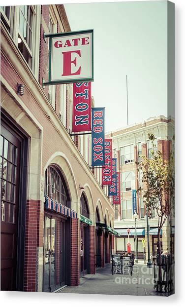 Boston Red Sox Canvas Print - Boston Fenway Park Sign Gate E Entrance by Paul Velgos