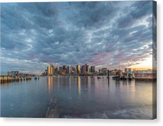 Boston From Carletons Whahrf Canvas Print