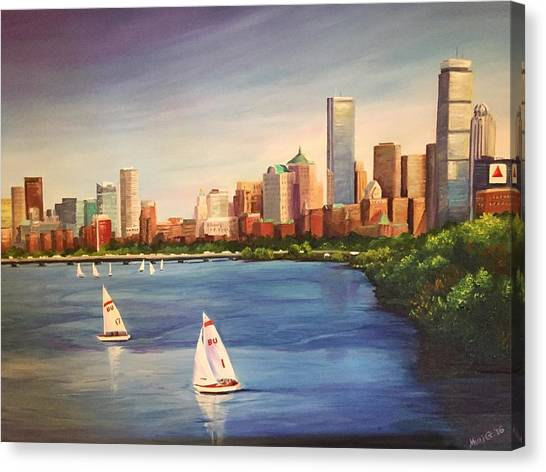 Patriot League Canvas Print - Boston From The Bu Bridge by Michell Givens