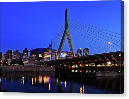 Boston Garden And Zakim Bridge Canvas Print