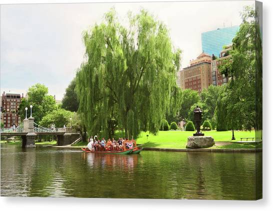 Boston Garden Swan Boat Canvas Print