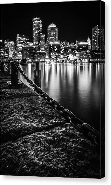 Boston Harbor At Night Canvas Print