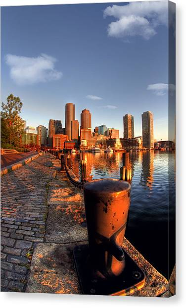 Boston Harborwalk Sunrise Canvas Print by Joann Vitali