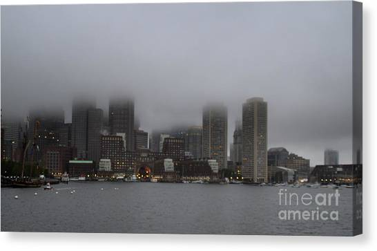 Boston In The Fog Canvas Print