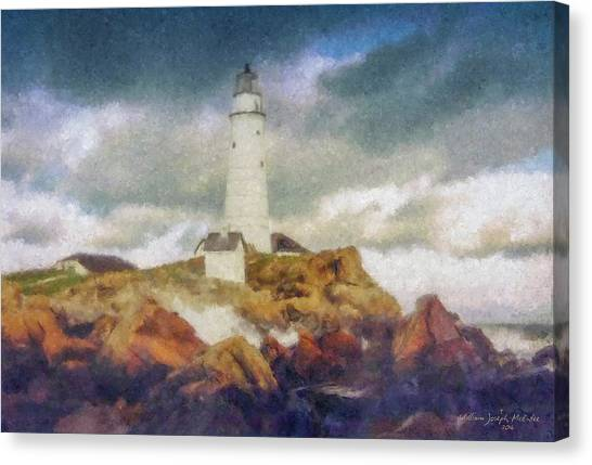 Boston Light On A Stormy Day Canvas Print