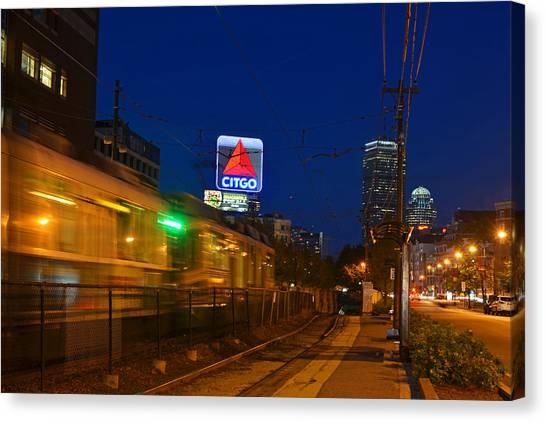 Boston Ma Green Line Train On The Move Canvas Print