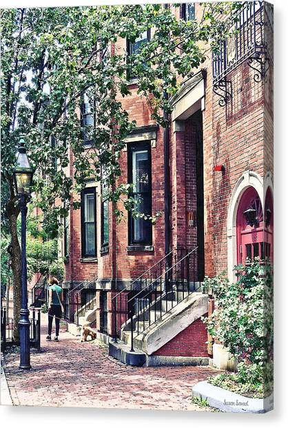 Boston Ma - Walking The Dog On Mount Vernon Street Canvas Print