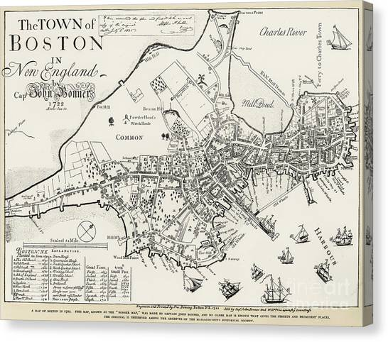 Rivers Canvas Print - Boston Map, 1722 by Granger