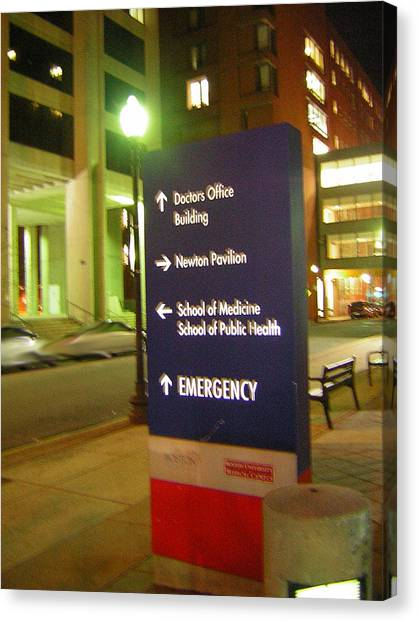 Boston Medical At Night Canvas Print by Heather Weikel