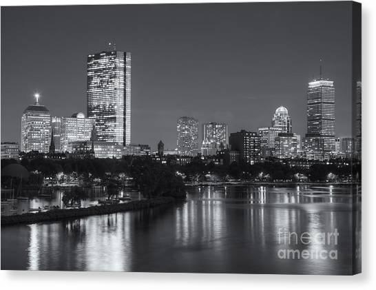 Boston Night Skyline V Canvas Print
