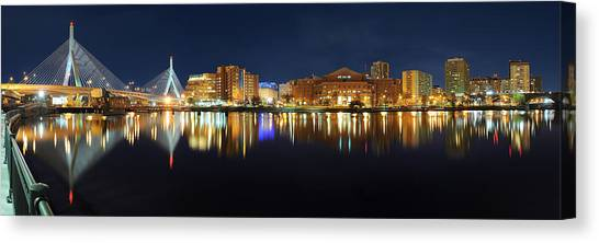 Boston Pano From Bridge To Bridge Canvas Print