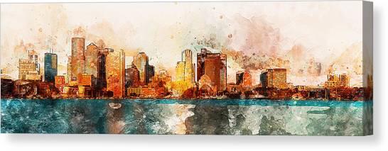 Boston, Panorama - 10 Canvas Print