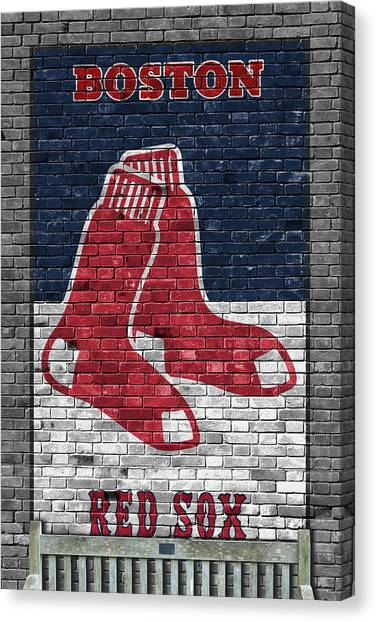 Baseball Teams Canvas Print - Boston Red Sox Brick Wall by Joe Hamilton