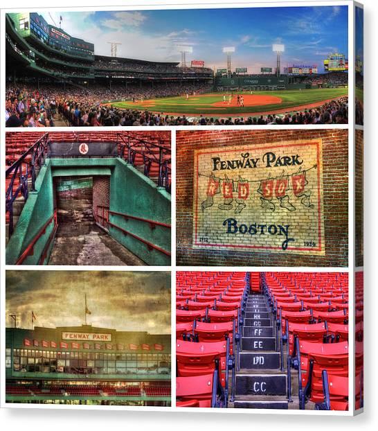 Boston Red Sox Canvas Print - Boston Red Sox Collage - Fenway Park by Joann Vitali