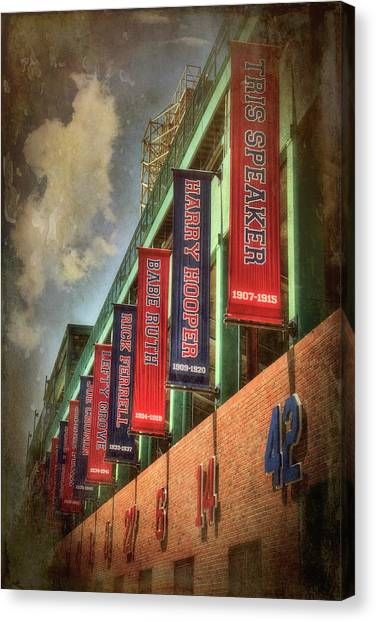 Fenway Park Canvas Print - Boston Red Sox Retired Numbers - Fenway Park by Joann Vitali