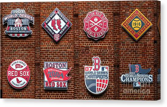 Boston Red Sox Canvas Print - Boston Red Sox World Series Emblems by Diane Diederich