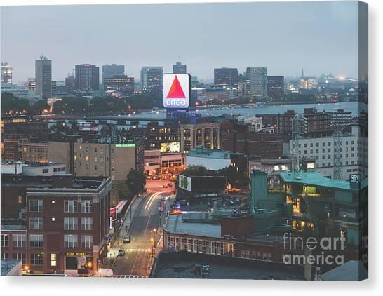 Harvard University Canvas Print - Boston Skyline Aerial Citgo Sign Photo by Paul Velgos