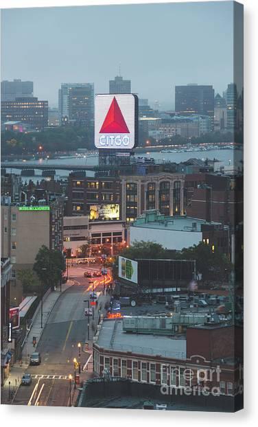 Harvard University Canvas Print - Boston Skyline Aerial Photo With Citgo Sign by Paul Velgos