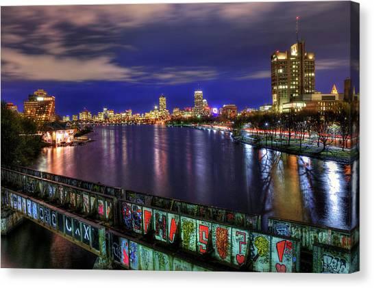 Patriot League Canvas Print - Boston Skyline And The Boston University Bridge by Joann Vitali
