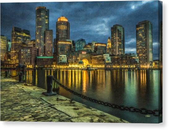 Boston Skyline At Night - Cty828916 Canvas Print