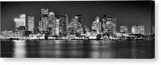 Boston Skyline Canvas Print - Boston Skyline At Night Panorama Black And White by Jon Holiday