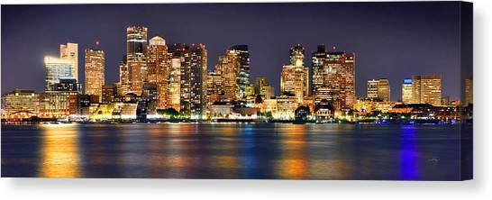 Night Canvas Print - Boston Skyline At Night Panorama by Jon Holiday