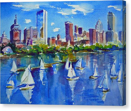Sailboats Canvas Print - Boston Skyline by Diane Bell