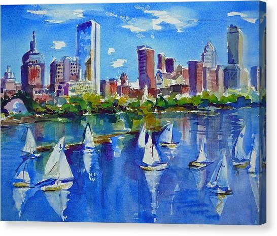 Sailboat Canvas Print - Boston Skyline by Diane Bell